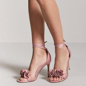 Floral Ankle-Wrap High Heels
